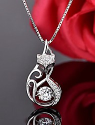 cheap -Women's Pendant Necklace Fox Sweet Imitation Diamond S925 Sterling Silver Silver 45 cm Necklace Jewelry 1pc For Daily