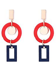 cheap -Women's Drop Earrings Dangle Earrings Geometrical Korean Fashion Modern Wood Earrings Jewelry Yellow / Coffee / Red For Daily Street Work Festival 1 Pair
