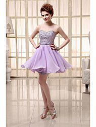 cheap -A-Line Sweetheart Neckline Short / Mini Chiffon Sparkle & Shine / Beautiful Back Cocktail Party / Homecoming Dress with Beading / Sequin 2020