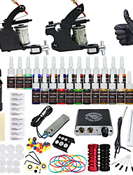 cheap -DRAGONHAWK Tattoo Machine Starter Kit - 2 pcs Tattoo Machines with 1 x 30 ml / 28 x 5 ml tattoo inks, Professional, Safety, Easy to Install Alloy Mini power supply Case Not Included 2 alloy machine