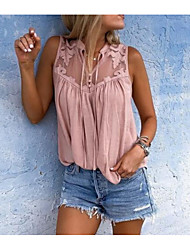cheap -Women's Loose Blouse - Solid Colored Dusty Rose, Patchwork V Neck Blushing Pink XXXL