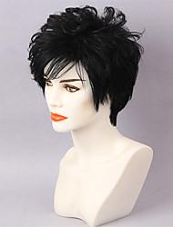 cheap -Human Hair Capless Wigs Human Hair Curly / Natural Wave Pixie Cut / Layered Haircut / Asymmetrical / Short Hairstyles 2019 Fashionable Design / Sexy Lady / Hot Sale Black Short Capless Wig Women's