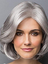 cheap -Synthetic Wig Bangs Curly Bob Side Part Wig Short Grey Synthetic Hair 14 inch Women's Fashionable Design Classic Women Gray