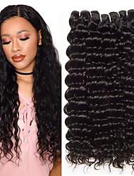 cheap -6 Bundles Brazilian Hair Deep Wave Virgin Human Hair Natural Color Hair Weaves / Hair Bulk Bundle Hair One Pack Solution 8-28inch Natural Color Human Hair Weaves Newborn Waterfall Cute Human Hair