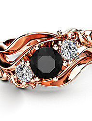 cheap -Women's Band Ring Ring Cubic Zirconia 1pc Rose Gold Copper Rose Gold Plated Geometric Luxury Unique Design European Party Gift Jewelry Classic Flower Cool