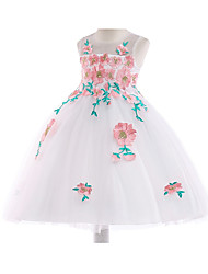 cheap -Princess Tea Length Pageant Flower Girl Dresses - Polyester / Cotton Blend Sleeveless Jewel Neck with Ruching / Trim