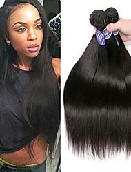 Недорогие -4 Связки Индийские волосы Прямой Необработанные натуральные волосы 100% Remy Hair Weave Bundles 200 g Человека ткет Волосы Накладки из натуральных волос 8-28 дюймовый Естественный цвет / Без запаха