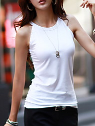 cheap -Women's Slim T-shirt - Solid Colored Halter Neck White