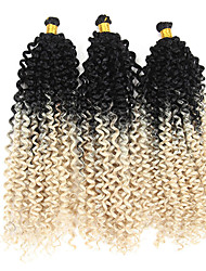 cheap -Twist Braids Afro Kinky Braids Curly Braids Curly Box Braids Natural Color Synthetic Hair Braiding Hair 3 Pieces Ombre Hair