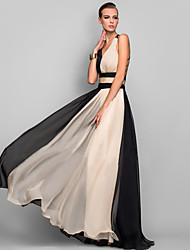 cheap -Black Tie Gala Color Block Dress Maxi V Neck Black S M L XL