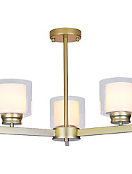 cheap -3-Light 3 Lights Chandelier/ American Style Pendant Light/ Gold Siliver Blacked Painted Finishes for Bedroom Living Room/ 110-120V / 220-240V/ E26/E27 without Bulb