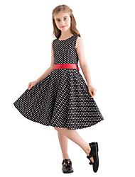 cheap -Kids Girls' Vintage Cute Polka Dot Print Sleeveless Knee-length Dress Black / Cotton