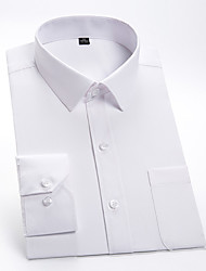 cheap -Men's Solid Colored Shirt Basic Wedding Party White / Blue / Blushing Pink