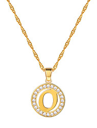 cheap -Women's Clear AAA Cubic Zirconia Pendant Necklace Necklace Charm Necklace X Letter Simple Fashion 18K Gold Plated Brass Rose Gold Plated Gold Silver 55 cm Necklace Jewelry 1pc For Gift Daily School