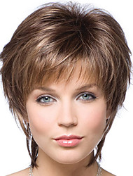 cheap -Synthetic Wig Bangs Curly Side Part Wig Short Brown / Burgundy Synthetic Hair 14 inch Women's Fashionable Design Women Synthetic Brown