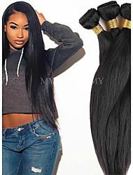 cheap -4 Bundles Brazilian Hair Natural Straight Remy Human Hair Natural Color Hair Weaves / Hair Bulk Bundle Hair One Pack Solution 8-28inch Natural Color Human Hair Weaves Cosplay Soft Dancing Human Hair