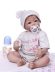 cheap -NPKCOLLECTION Reborn Doll Baby Boy 22 inch Vinyl - lifelike Cute Artificial Implantation Brown Eyes Kid's Unisex Toy Gift