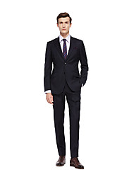 cheap -Custom Suits Black Solid Colored Standard Fit Wool Suit - Peak Single Breasted Two-buttons