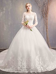 cheap -Ball Gown Jewel Neck Chapel Train Tulle / Lace Over Satin Half Sleeve Made-To-Measure Wedding Dresses with Appliques / Lace 2020 / Bell Sleeve