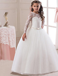 cheap -Princess Long Length Flower Girl Dress - Lace / Satin / Tulle Long Sleeve Jewel Neck with Lace / Belt / First Communion