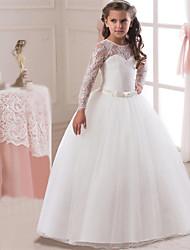 abordables -Princesse Long Robe de Demoiselle d'Honneur Fille - Dentelle / Satin / Tulle Manches Longues Bijoux avec Dentelle / Ceinture / Communion