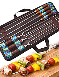 cheap -Marshmallow Roasting Sticks 7pcs Portable Easy to Install for Stainless Steel Outdoor Picnic Blue