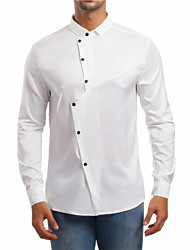 cheap -Men's Shirt - Solid Colored Patchwork Button Down Collar Black