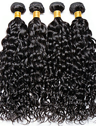 cheap -4 Bundles Indian Hair Water Wave 100% Remy Hair Weave Bundles Natural Color Hair Weaves / Hair Bulk Bundle Hair One Pack Solution 8-28inch Natural Color Human Hair Weaves Cute Fashionable Design Gift