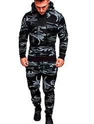 cheap -Men's Activewear Set Solid Colored Camo / Camouflage Hooded Basic Hoodies Sweatshirts  Black Army Green Khaki