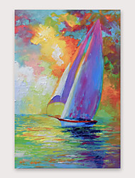 cheap -IARTS®Hand Painted Everything is going smoothly Oil Painting with Stretched Frame For Home Decoration