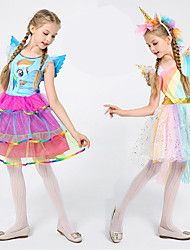 cheap -Cosplay Dress Cosplay Costume Flower Girl Dress Kid's Girls' A-Line Slip Dresses Cosplay Christmas Halloween Children's Day Festival / Holiday Tulle Polyster Blue / Pink Carnival Costumes Unicorn