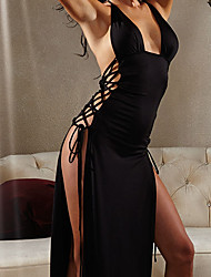 cheap -Women's Split / Lace up Super Sexy Chemises & Gowns Nightwear Solid Colored Black XL XXL XXXL