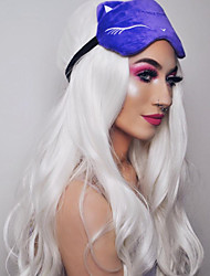 cheap -Synthetic Lace Front Wig Wavy Deep Wave Layered Haircut Lace Front Wig Long Platinum Blonde Synthetic Hair 24 inch Women's Women White Sylvia