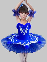 cheap -Kids' Dancewear / Ballet Dresses Girls' Training / Performance Polyester / Mesh Feathers / Fur / Split Joint / Crystals / Rhinestones Sleeveless Dress