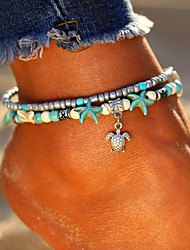 cheap -Ankle Bracelet feet jewelry Ladies Bohemian Ethnic Women's Body Jewelry For Going out Beach Layered Double Turquoise Alloy Turtle Starfish Silver Elephant Tree 1pc