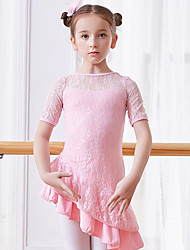 cheap -Kids' Dancewear / Ballet Dresses Girls' Training / Performance Cotton Lace / Split Joint Short Sleeve Natural Dress