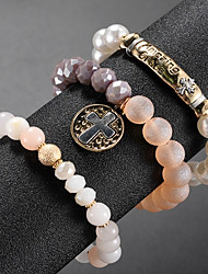 cheap -3pcs Women's Bead Bracelet Vintage Bracelet Earrings / Bracelet Layered Cross Vertical / Gold bar Simple Classic Fashion Cute Elegant Glass Bracelet Jewelry Gold For Daily School Street Holiday