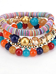 cheap -Bead Bracelet Beaded Layered Stack Rainbow Ladies Unique Design Vintage Party Braided / Cord Leather Bracelet Jewelry White / Rainbow For Party Gift Valentine / Resin