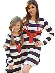 cheap -Mommy and Me Active Basic Striped Geometric Print Long Sleeve Regular Knee-length Regular Cotton Dress White