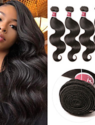 cheap -4 Bundles Indian Hair Body Wave Virgin Human Hair 100% Remy Hair Weave Bundles 400 g Natural Color Hair Weaves / Hair Bulk Bundle Hair Human Hair Extensions 8-28 inch Natural Color Human Hair Weaves