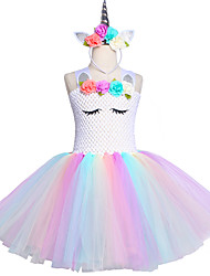 cheap -Kids Unicorn Tutu Dress Knee-Length Pastel Rainbow Children Halloween Unicorn Headband Set