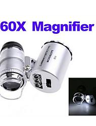 abordables -Microscope de poche lumineux 60x mini led avec lampes portable loupe loupe avec lumière uv led