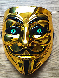 cheap -Cosplay Costume Mask Inspired by V for Vendetta Black Golden Cosplay Halloween Halloween Carnival Masquerade Adults' Men's Women's
