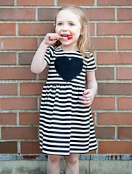 cheap -Kids Toddler Girls' Active Basic Striped Heart Embroidered Short Sleeve Knee-length Dress Black / Cotton