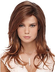 cheap -Synthetic Wig Bangs kinky Straight Side Part Wig Long Brown / Burgundy Synthetic Hair 26 inch Women's Fashionable Design Smooth Women Brown / Ombre Hair