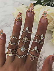 cheap -Women's Statement Ring Ring Set Midi Ring Synthetic Opal 12pcs Gold Imitation Diamond Alloy Geometric Statement Bohemian Party Daily Jewelry Vintage Style Drop Star North Star Cute