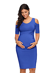 cheap -Women's Maternity Basic Above Knee Shift Dress - Solid Colored Cut Out Ruched Black Blushing Pink Wine M L XL
