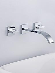 cheap -Bathroom Sink Faucet - Waterfall Chrome Wall Mounted Two Handles Three HolesBath Taps