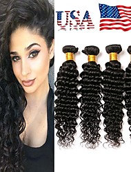 cheap -4 Bundles Brazilian Hair Deep Wave Remy Human Hair Natural Color Hair Weaves / Hair Bulk Bundle Hair One Pack Solution 8-28inch Natural Color Human Hair Weaves Waterfall Odor Free Soft Human Hair