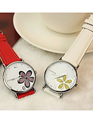 cheap -YAZOLE Women's Quartz Watches Flower Fashion Black White Red PU Leather Quartz Red black / silver Black+White Casual Watch 1 pc Analog One Year Battery Life / Stainless Steel